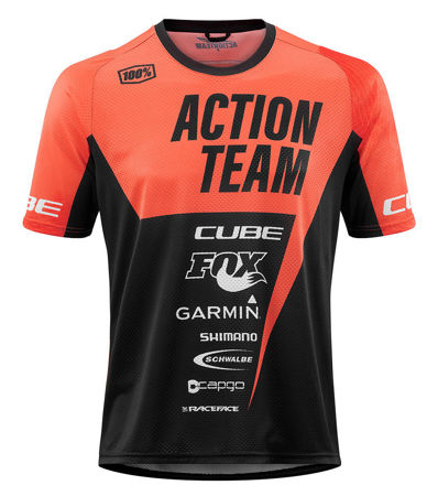 Picture of MAJICA CUBE EDGE ROUND NECK S/S X ACTIONTEAM ORANGE'N'BLACK