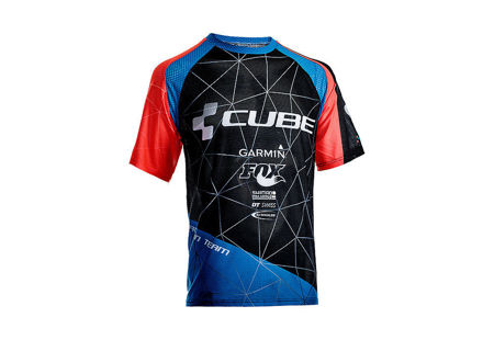 Picture of Majica kratki rukav Cube ACTION TEAM Roundneck black´n´blue´n´flashred 10665